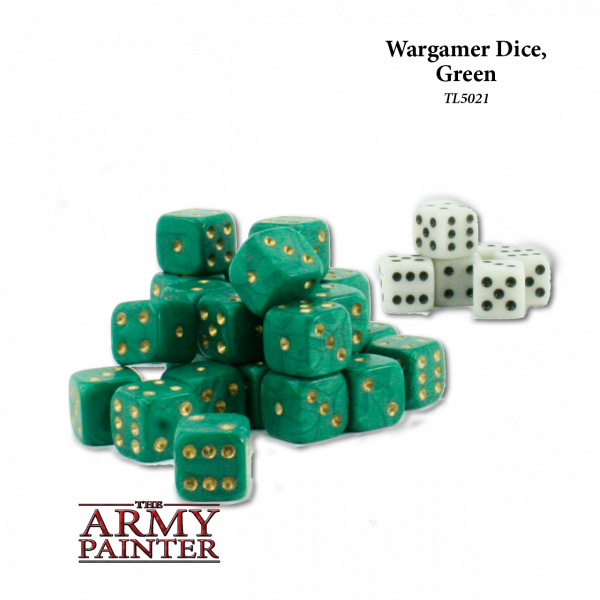 Army Painter - Wargaming Dice: Green w. White