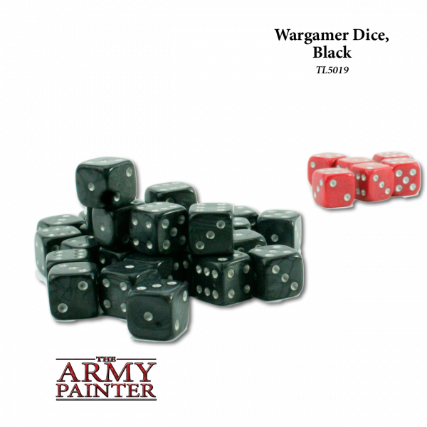 Army Painter - Wargaming Dice: Black w. Red